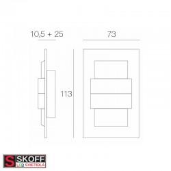 SKOFF KINKIET DUO TANGO LED Svietidlo 1,6W 6500K NEREZ 10V/DC IP66