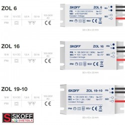 SKOFF LED Transformátor ZOL16 16W 100-240V/AC 10V/DC 50HZ 1,6A IP68