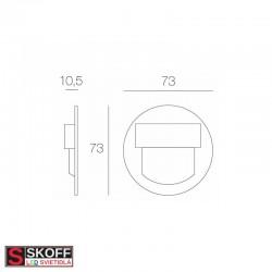 SKOFF RUEDA LED Svietidlo 0,8W 3000K HLINÍK 10V/DC IP20
