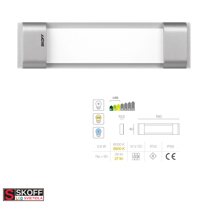 SKOFF RUMBA STICK LED Svietidlo 0,8W 3000K HLINÍK 10V/DC IP20