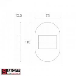 SKOFF DUO RUEDA SHORT LED Svietidlo 1,6W MODRÁ NEREZ 10V/DC IP20
