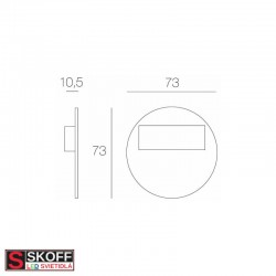 SKOFF RUEDA SHORT LED Svietidlo 0,8W MODRÁ HLINÍK 10V/DC IP20
