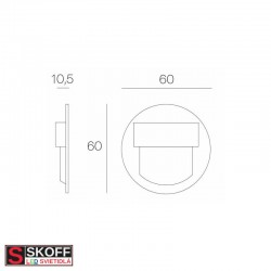 SKOFF RUEDA MINI SHORT LED Svietidlo 0,4W MODRÁ HLINÍK 10V/DC IP20