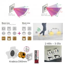 SKOFF TANGO Senzorové LED svietidlo 1,0W MODRÁ HLINÍK 10V/DC PIR 120º IP20