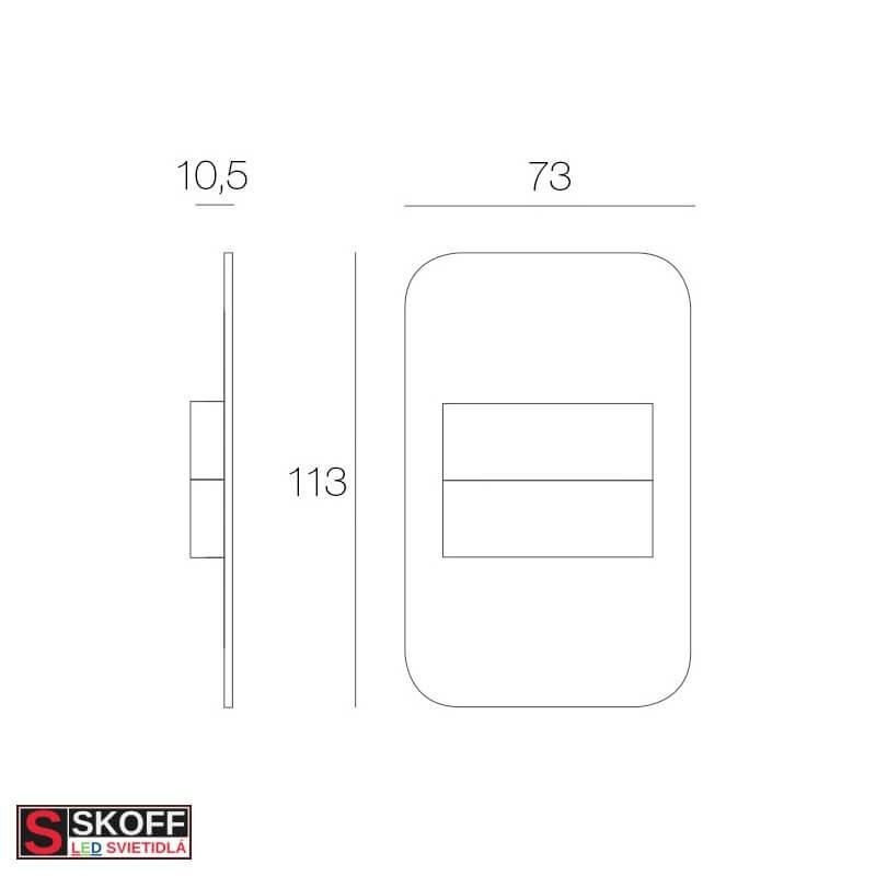 SKOFF TANGO Vstavané svietidlo ČIERNA LED 0.8W MODRÁ 10V/DC IP20