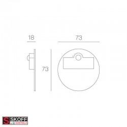 SKOFF RUEDA SHORT Senzorové LED svietidlo 2,4W MODRÁ NEREZ 230V/AC PIR 120º IP20
