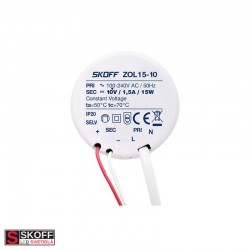 SKOFF LED Transformátor ZOL15 15W 100-240V/AC 10V/DC 50HZ 1,5A IP20