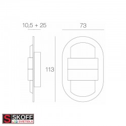 SKOFF KINKIET DUO RUEDA LED Svietidlo 1,6W 6500K NEREZ 10V/DC IP66